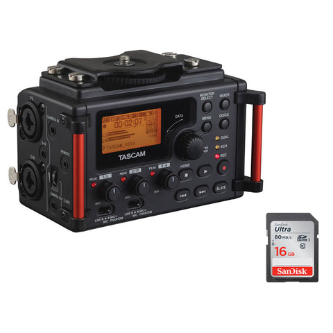 Tascam DR-60DMKII 4-Channel Portable Audio Recorder with 16GB Memory Card Bundle