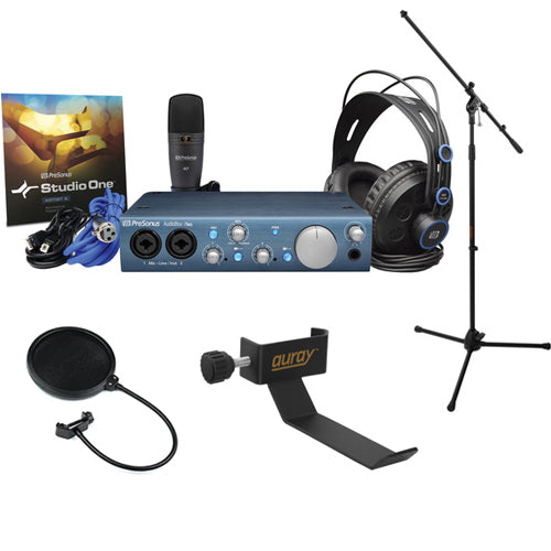 PreSonus AudioBox iTwo Studio Recording Kit with Tripod Microphone Stand, Headphone Holder and Pop Filter