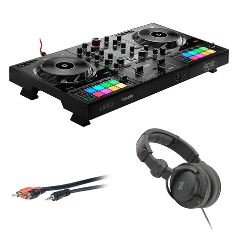 Hercules DJControl Inpulse 500 DJ Software Controller with Polsen HPC-A30-MK2 Monitor Headphones & Mini to 6' RCA Cable Bundle