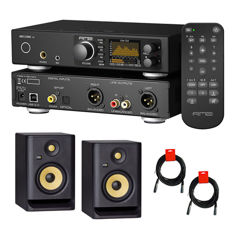 "RME ADI-2 DAC FS Ultra-Fidelity PCM/DSD DA Converter with KRK ROKIT 5 G4 5"" Studio Monitor (Pair) & 2x XLR Cable Bundle"