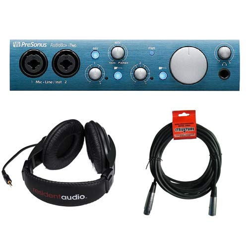 PreSonus AudioBox iTwo USB 2.0 Recording Interface with R100 Stereo Headphones and XLR Cable