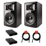 "JBL 306P MkII Powered 6.5"" Two-Way Studio Monitor (Pair) with (2) IP-M Isolation Pad (Medium, Single) & (2) 20' XLR Cable Bundle"