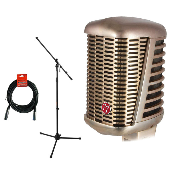 CAD A77 Supercardioid Large Diaphragm Dynamic Microphone with MS-5230F Mic Tripod Stand & XLR Cable Bundle