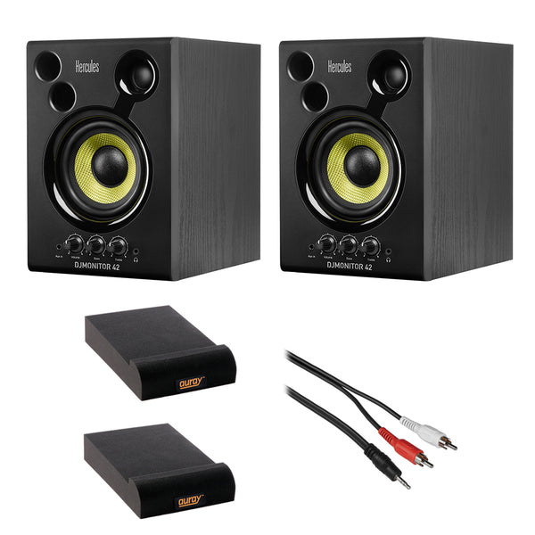 "Hercules DJMonitor 42-4"" Active Multimedia Speakers (Pair) with Isolation Pad (Small, Pair) & Stereo Male RCA Y-Cable 3' Bundle"