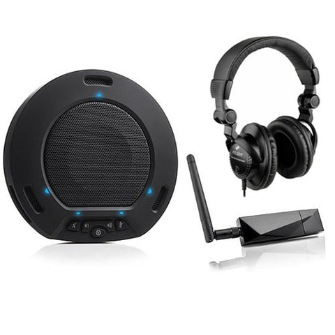 HuddleCamHD HuddlePod Air Wireless USB Speakerphone (Black) with HPC-A30 Closed-Back Studio Monitor Headphones