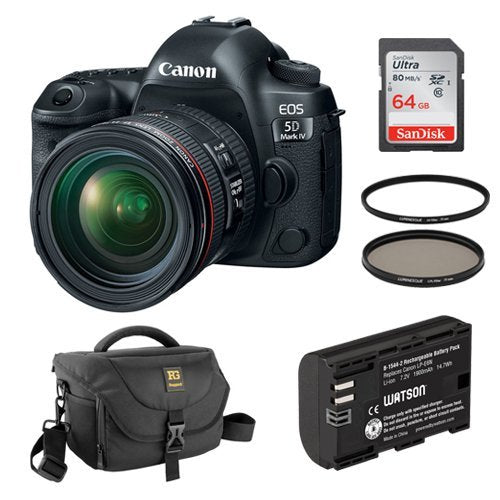Canon EOS 5D Mark IV DSLR Camera with 24-70mm f/4L Lens Kit and Accessories