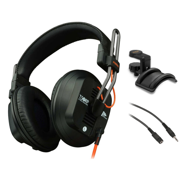 Fostex RPmk3 Series T50RPmk3 Stereo Headphones (Semi-Open Type) with Headphone Holder, Padded Cradle & Adjustable Angle plus Stereo Mini Male to Female Extension Cable 25' Bundle