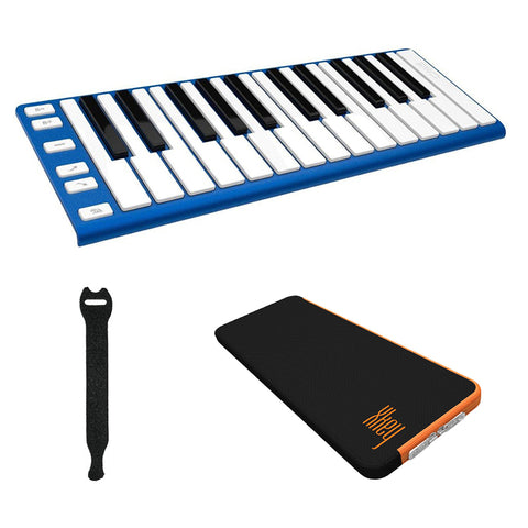 CME XKEY 25 Midi Controller (Blue) with CME Supernova Xkey Carrying Case & Fastener Straps (10-Pack) Bundle