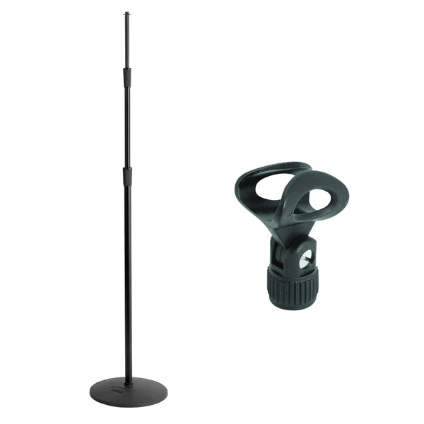On-Stage MS9312 Three-Section Microphone Stand with Round Base & Elliptical Microphone Clip Bundle