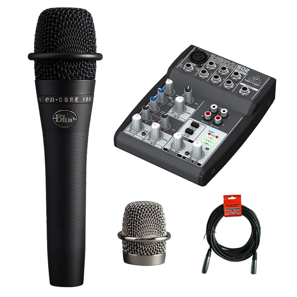 Blue enCORE 100 Dynamic Handheld Vocal Microphone (Black) with Behringer XENYX Compact Audio Mixer & 20' XLR Cable Bundle