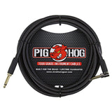 "Pig Hog PC-H10BKR 1/4"" Right-Angle to 1/4"" Black Woven Guitar Instrument Cable, 10 Feet (3-Pack)"