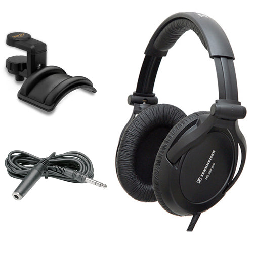 Sennheiser HD 380 Pro Circumaural Monitoring Headphones with Auray Headphone Holder & Hosa HPE-310 Cable