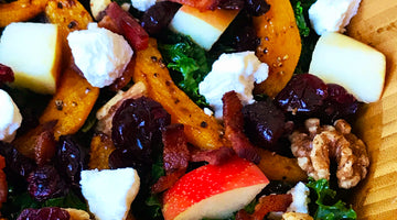Kale & Roasted Butternut Squash Salad  w/ Warm Maple Fig Vinaigrette