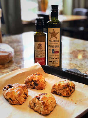 Olive Oil Scones w/ Dark Chocolate and Orange