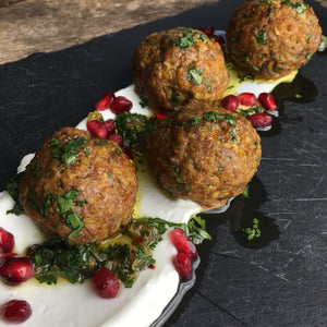 Moroccan Spiced Lamb Meatballs with Cilantro & Gold Raisin Chimichurri