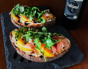 Caramelized Peach & Goat Cheese Tartine w/ Arugula and Prosciutto
