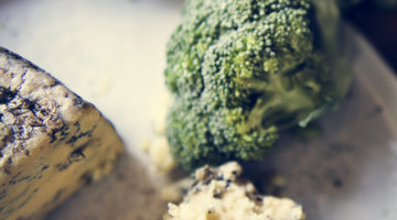 Blood Orange Infused Roasted Broccoli w/ Blue Cheese Crumble