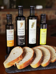 peach balsamic, traditional balsamic, terra verde extra virgin olive oil, lemon infused olive oil