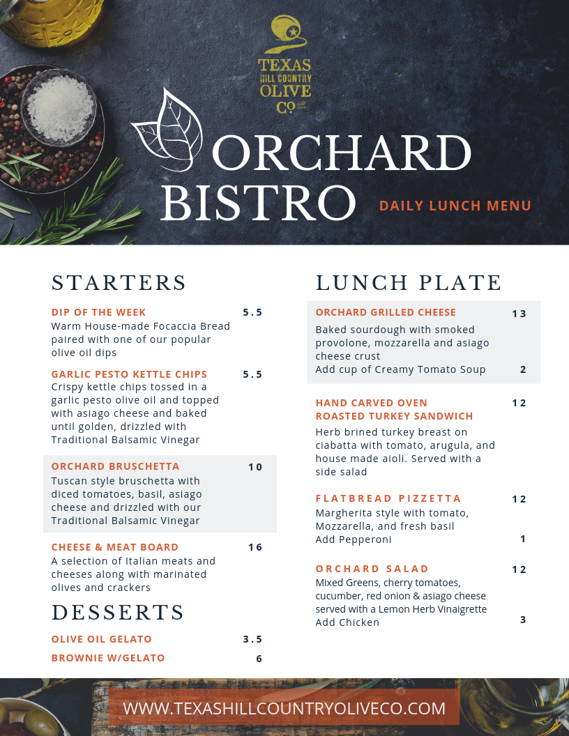 Texas Hill Country Olive Company Bistro Menu