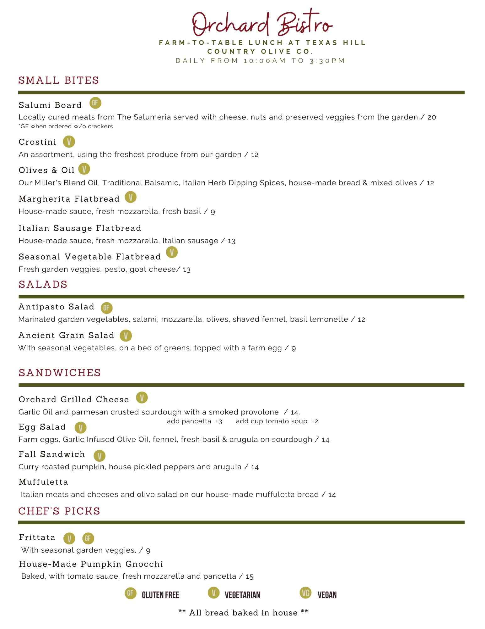 Fall 2021 Bistro menu - restaurant menu - texas olive oil | Texas Hill Country Olive Co.