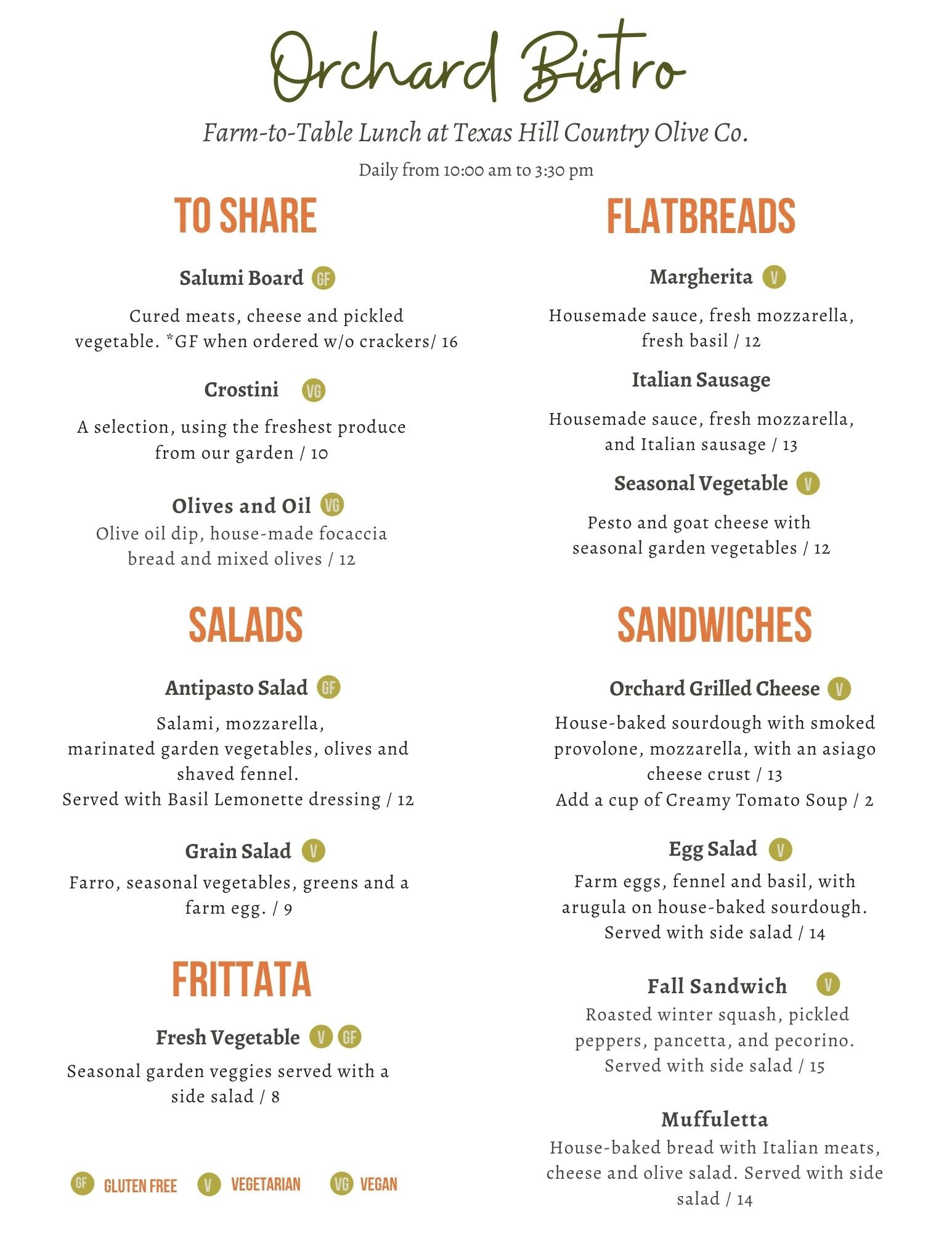 Farm-to-table Menu | Texas Hill Country Olive Co.