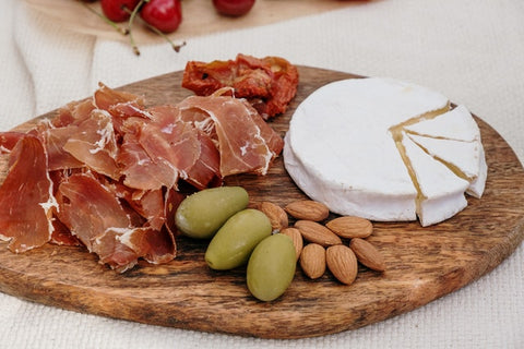 Charcuterie board with Texas olives