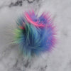 Destination Yarn Accessory Rainbow with pink Faux Fur Pom - Bright Colors