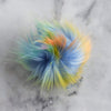 Destination Yarn Accessory Rainbow with yellow Faux Fur Pom - Bright Colors