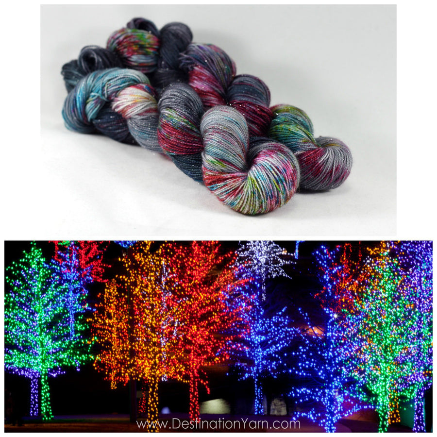 Destination Yarn fingering weight yarn Downtown Holiday Lights - PREORDER