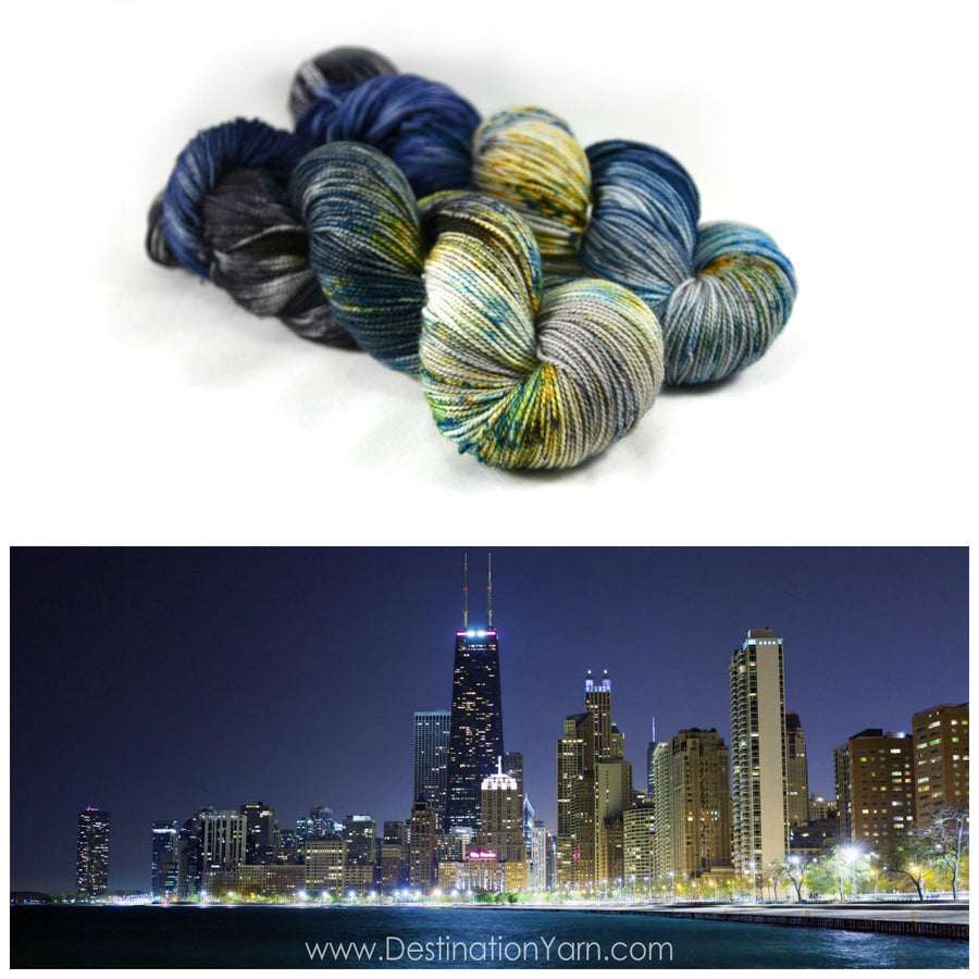 Destination Yarn fingering weight yarn Lake Shore Drive - dyed to order