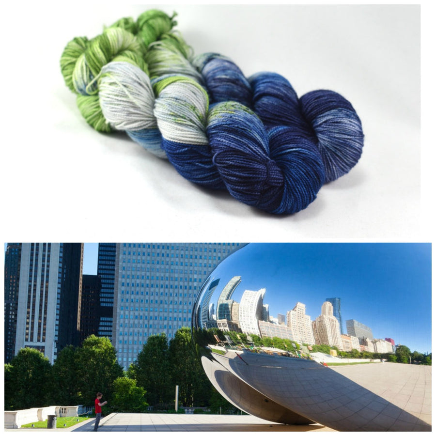 Destination Yarn fingering weight yarn Millennium Park - dyed to order