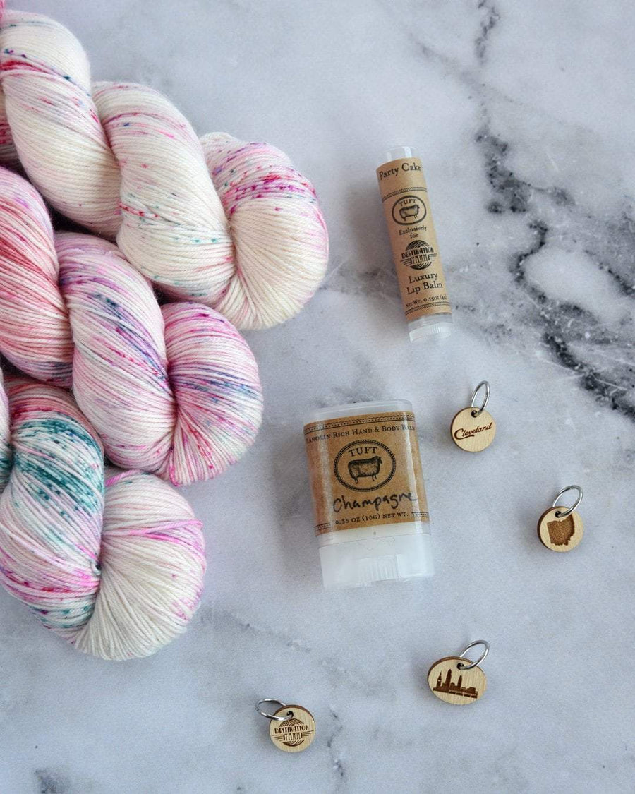 Destination Yarn fingering weight yarn Pink Champagne and Cake