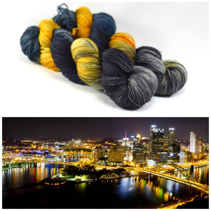 Destination Yarn fingering weight yarn PITTSBURGH AT NIGHT