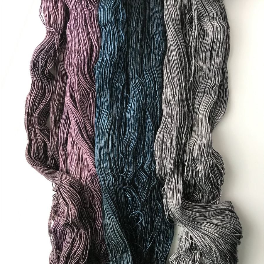 Destination Yarn Knitting Kit 3 SKEIN SHAWL KIT - Harvest Moon, Witching Hour, Storm Clouds