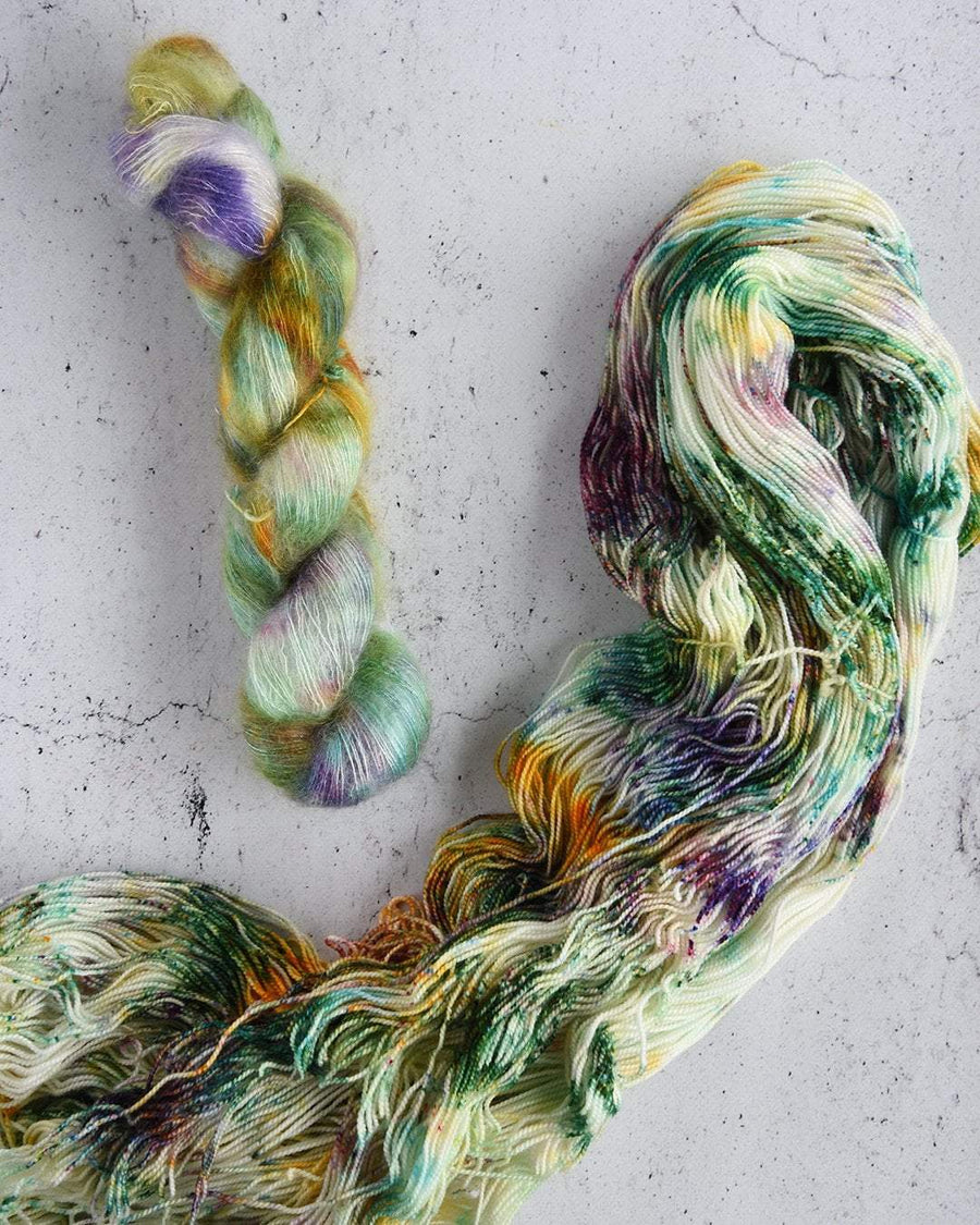 Destination Yarn Knitting Kit Mardi Gras Birds of a Feather Shawl Kit - Mohair and Cashmere