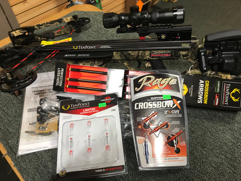 TenPoint Carbon Phantom RCX ACUdraw 50 Package with Free Lighted Nock System and Rage Heads