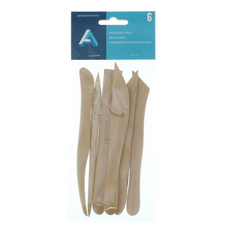 CLAY TOOL SET 6PC WOOD 6""
