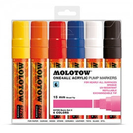 MOLOTOW ACRYLIC PAINT MARKER BASIC 127HS SET OF 6 - 15MM