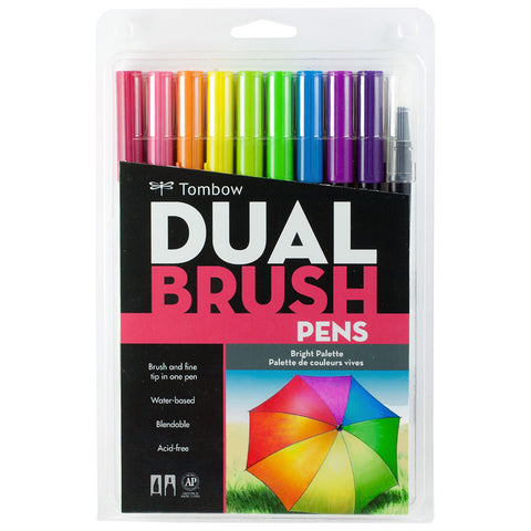 TOMBOW BRUSH PEN SET 10 BRIGHT
