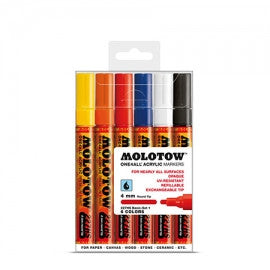 MOLOTOW ACRYLIC PAINT MARKER  BASIC #2 SET OF 6 - 4MM