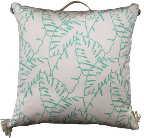 Outdoor elephant leaves floor pillow teal