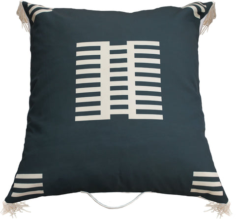 Outdoor fence floor pillow black