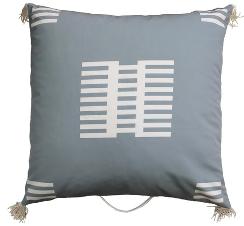 Outdoor fence floor pillow gray