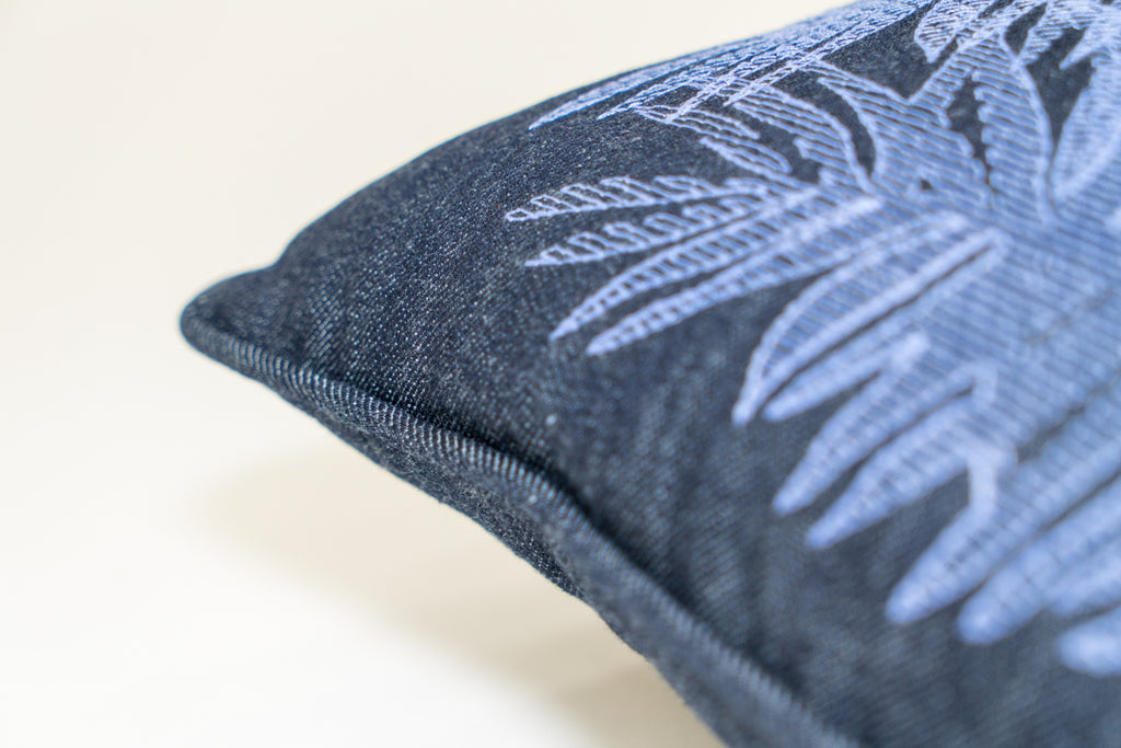 MULTI PALM DENIM PILLOW
