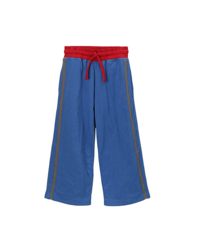 Blue Organic Side Stripe Pants with Red Trim
