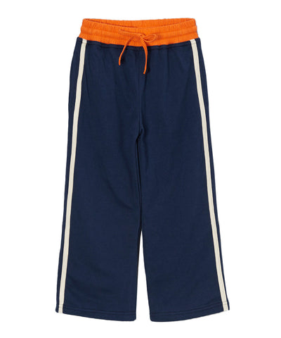 Navy Organic & Cream Side Stripe Pants with Orange Trim