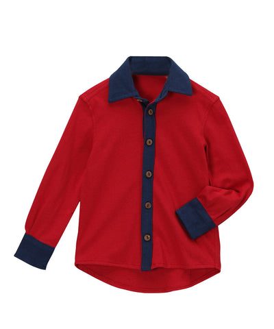 Chili Pepper Red Organic Button Down Shirt with Navy Trim