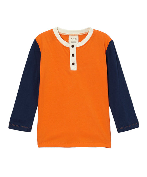 Orange & Navy Blue Long Sleeve Henley