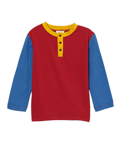Chili Pepper Red & Sky Blue Long Sleeve Organic Henley