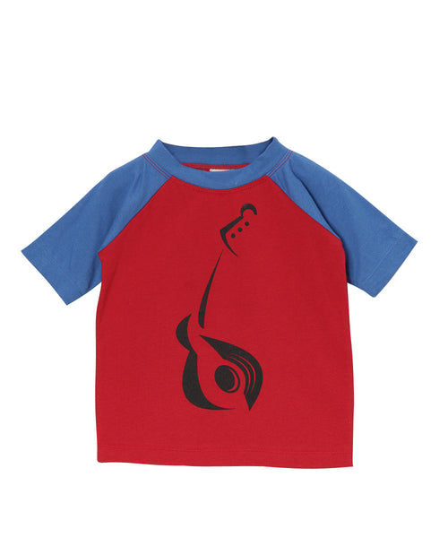 Red & Blue Guitar Print Organic Raglan T-Shirt